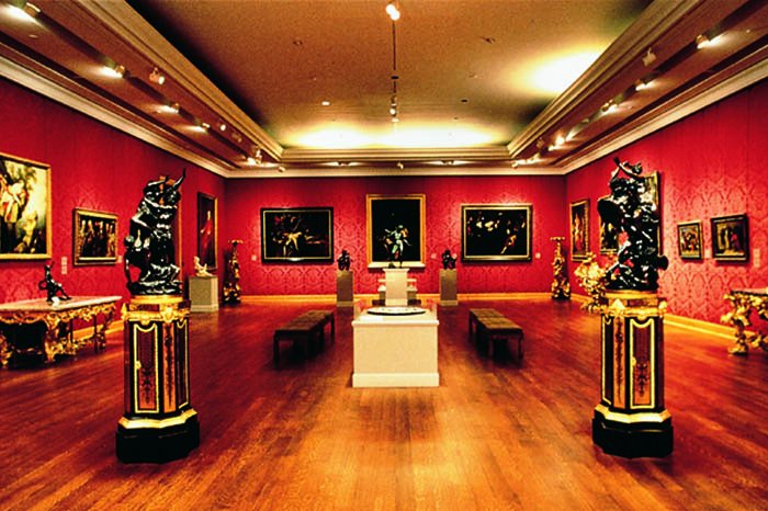 The Baroque Gallery displaying paintings and sculptures in the Villa Museum, Malibu, mid-1980s.