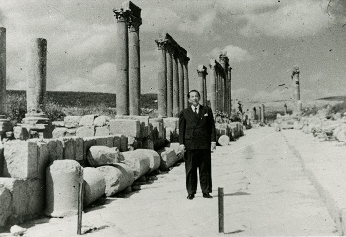 J. Paul Getty at Jerash (ancient Gerasa) in Jordan, 1954.