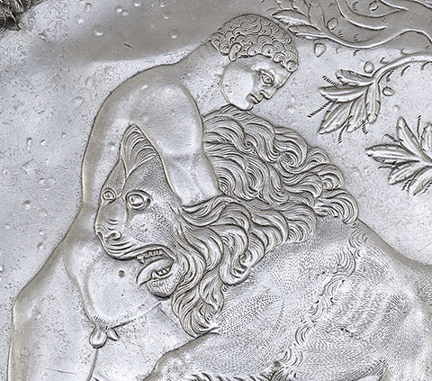 Plate with Hercules Wrestling the Nemean Lion (detail), Roman, A.D. 500-600; silver