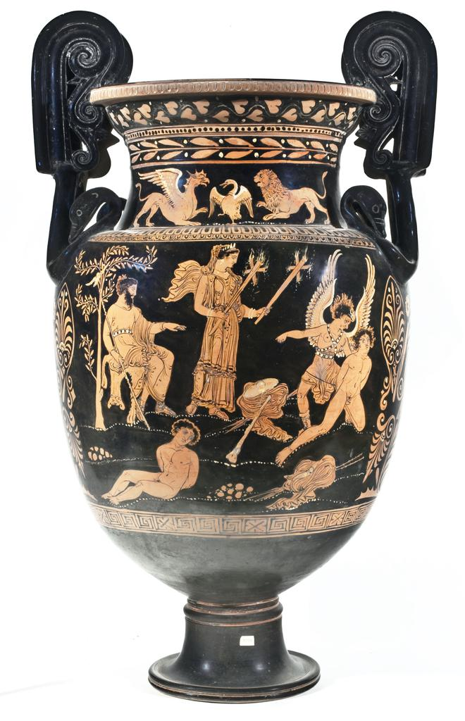 "Mixing Vessel with Hades and Persephone Watching a Fury Bind Theseus and Perithoös, South Italian, made in Apulia, 365–350 BC, terracotta. Red-figure volute krater attributed to the Suckling-Salting Group. Museo Archeologico Nazionale ""G. Jatta,"" Ruvo, 1094"