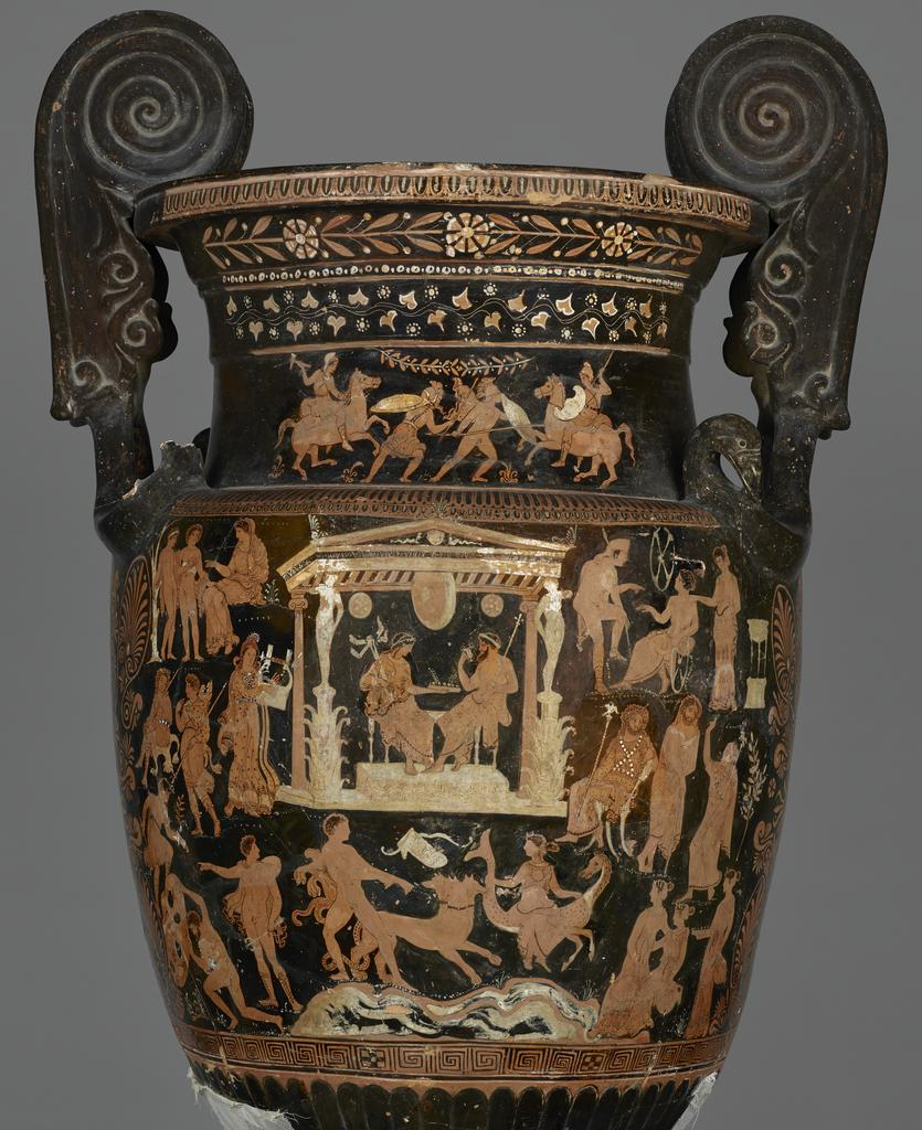 Funerary Vessel with an Underworld Scene (body) and a Battle between Greeks and Amazons (neck) (detail, pre-conservation), South Italian, made in Apulia, 360–340 BC; found in Altamura, Italy, in 1847, terracotta. Red-figure volute krater attributed to the Circle of the Lycurgus Painter. National Archaeological Museum of Naples, 81666