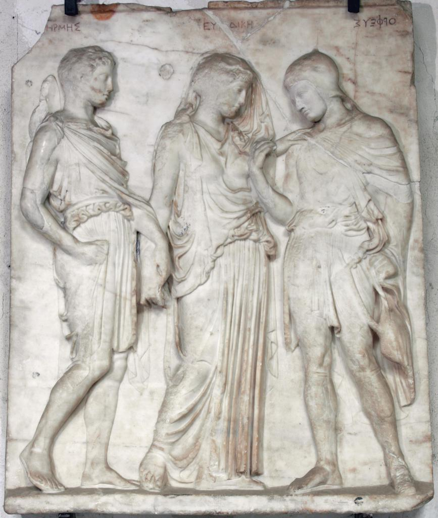 Relief with Hermes, Eurydike, and Orpheus, Roman, 100 BC–AD 100; found in Torre del Greco, Italy, around 1640, marble. National Archaeological Museum of Naples, 6727