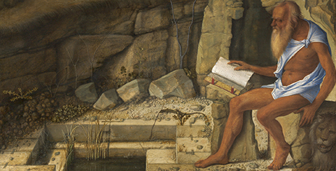 Saint Jerome Reading in the Wilderness (detail), 1505, Giovanni Bellini, oil on wood panel. National Gallery of Art, Washington, Samuel H. Kress Collection, 1939.1.217. Image courtesy National Gallery of Art, Washington