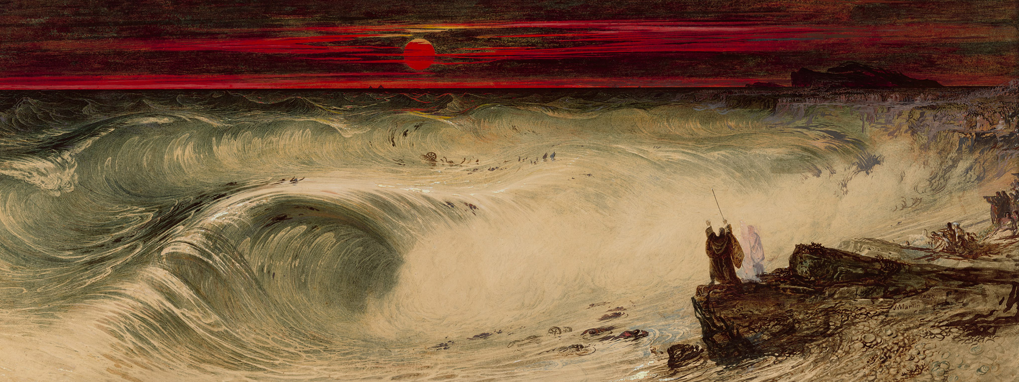 The Destruction of Pharaoh's Host (detail), 1836, John Martin, watercolor and oil paint with brown ink and scraping out over black chalk, on paper. The J. Paul Getty Museum