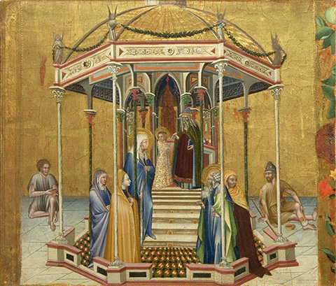 The Presentation in the Temple, 1427, Giovanni di Paolo, tempera and gold leaf on panel. Pinacoteca Nazionale, Siena (Polo Museale Regionale della Toscana)