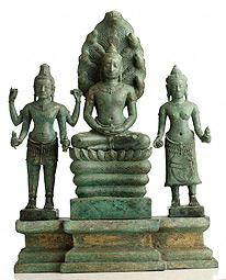 Naga-Protected Buddha with Avalokiteshvara and Prajnaparamita / Cambodian, Angkor period