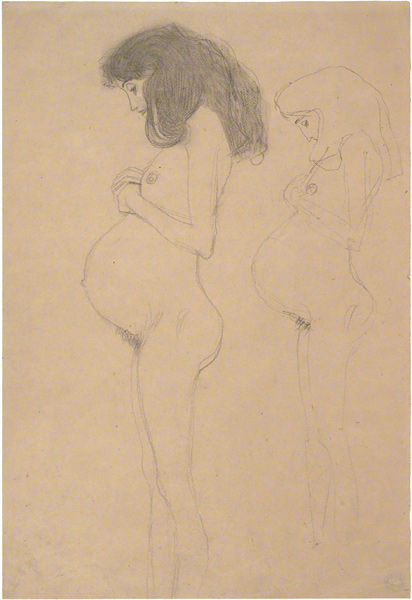 Pregnant Female Nude in Profile / Klimt