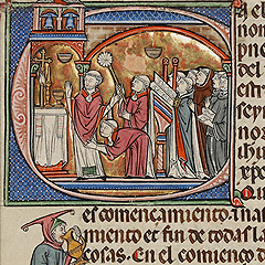 Initial C: A Priest Celebrating Mass (detail)  / Spanish