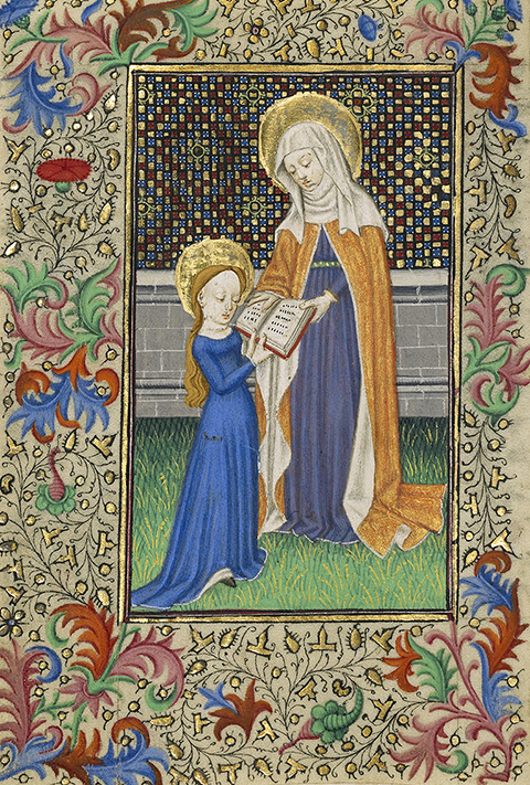 <em>Saint Anne Teaching the Virgin to Read</em>, from a book of hours, about 1430-40, France or England, Master of Sir John Fastolf. The J. Paul Getty Museum