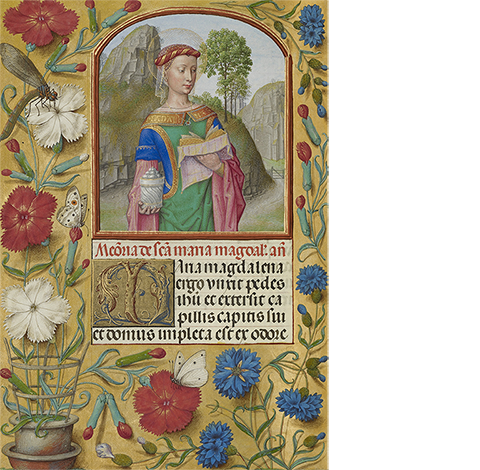 <em>Mary Magdalene with a Book and an Ointment Jar</em>, from the Spinola Hours, about 1510-20, Bruges and Ghent, Workshop of the Master of the First Prayer Book of Maximilian. The J. Paul Getty Museum