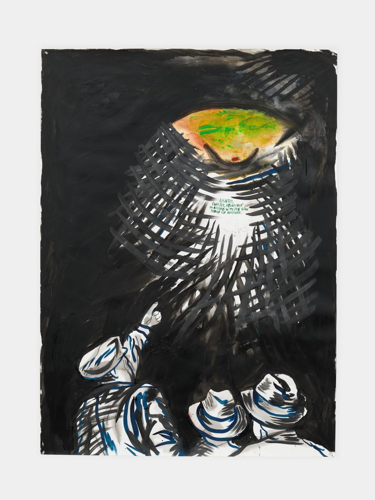 No Title (Lightly, swiftly, absolutely…), 2014, Raymond Pettibon; ink, acrylic, graphite, and watercolor on paper. 55 x 40 in. (139.7 x 101.6 cm). Courtesy the artist and David Zwirner, New York/Hong Kong and Regen Projects, Los Angeles. © Raymond Pettibon