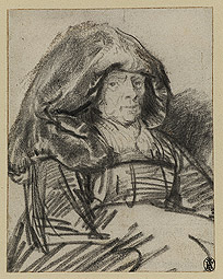 Old Woman with a Large Headdress / Rembrandt