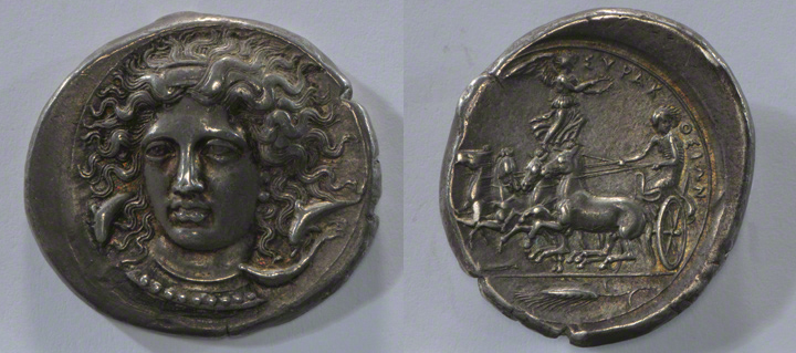 Coin with a Head of Arethousa and a Quadriga / Kimon