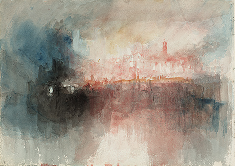 Study of a Fire at the Grand Storehouse of the Tower of London / JMW Turner