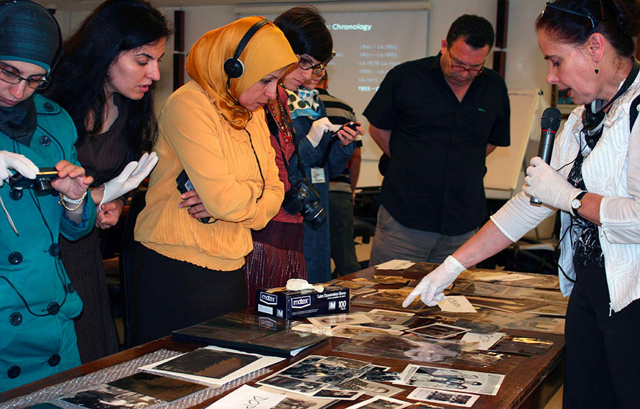 Instructor presenting different photographic processes.