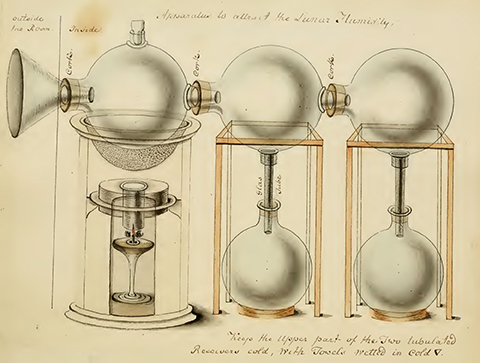An elaborate glass distillation device made of interconnected spheres and tubes
