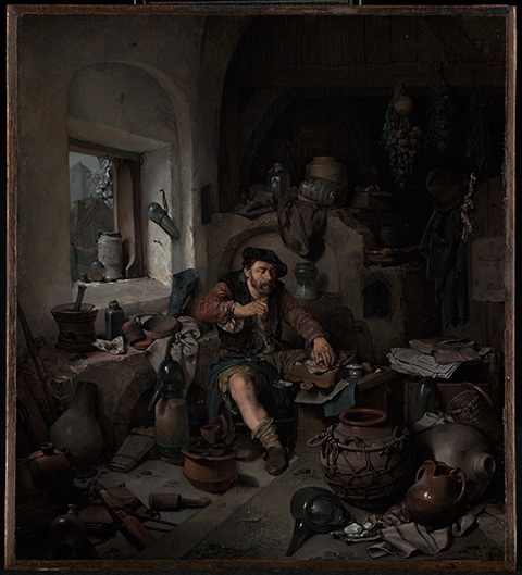 Oil painting of an alchemist sitting in a dark and dingy workshop making synthetic cinnabar