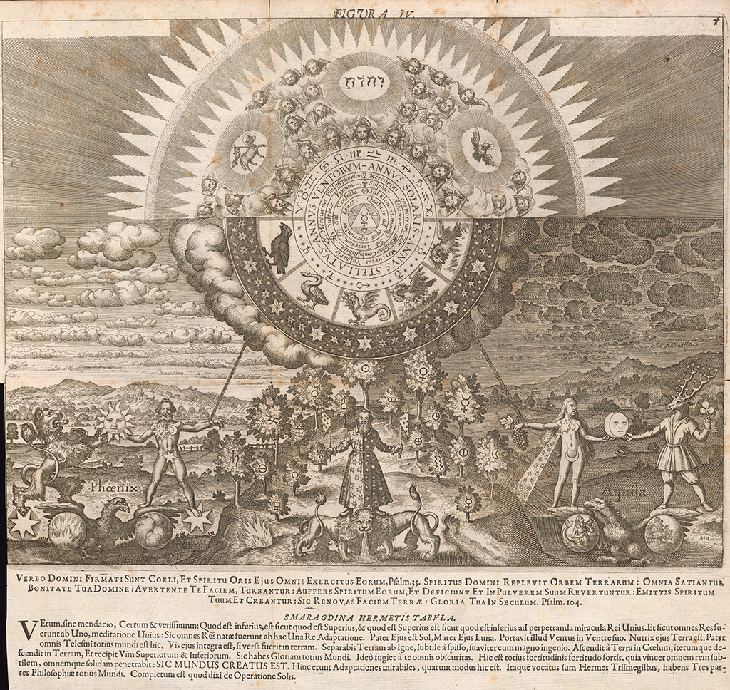 The art of alchemy getty research institute the getty research a landscape of symbolic figures and a forest bearing symbols of the planetary metals with biocorpaavc Choice Image