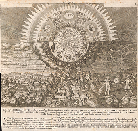 A landscape of symbolic figures and a forest bearing symbols of the planetary metals, with a heavenly arc above, containing enigmatic alchemical allegories