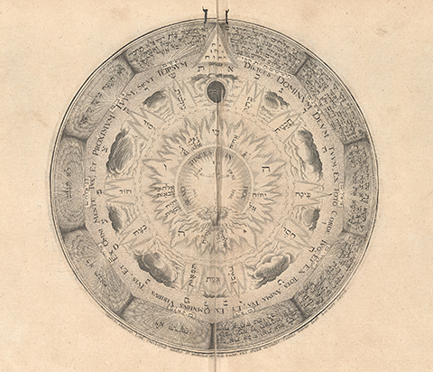 Circular diagram of heavenly flames depicting primordial chaos