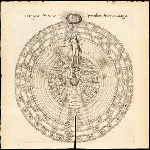 Circular diagram depicting the universe with YAHWEH above in the shape of a cloud chained to a depiction of Nature in the form of a naked woman with breast milk showering over the earth, who is chained to a monkey in the center of the image