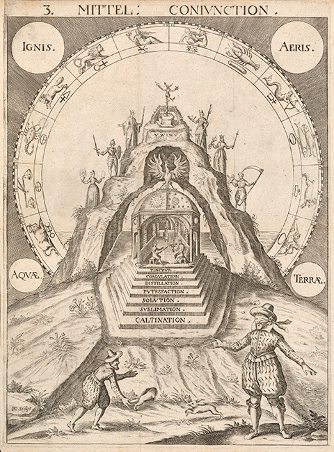 A mountain with seven terraces and a temple hidden within, whose steps each list a stage of the alchemical process. The seven planetary metals in human form stand on each terrace, while the zodiac is depicted in an arch around the mountain