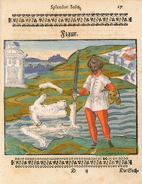 A man holding a golden head and a sword stands before a dismembered corpse that is colored white like salt