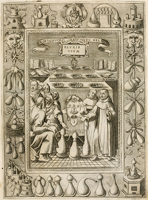 Engraving of monks standing around a distilling apparatus, with a decorative border of alchemical vessels