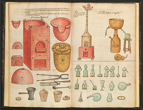 Brightly colored alchemical tools and equipment
