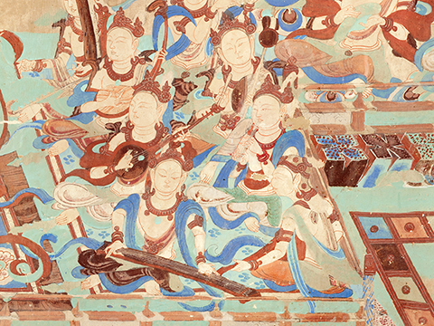 Wall painting of celestial musicians playing lutes, flutes, and a stringed instrument