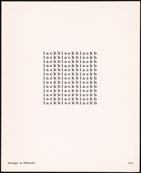 "In this print, a square of black letters repeats four words: ""lock, lack, block, black,"" in various combinations creating shifting meanings."