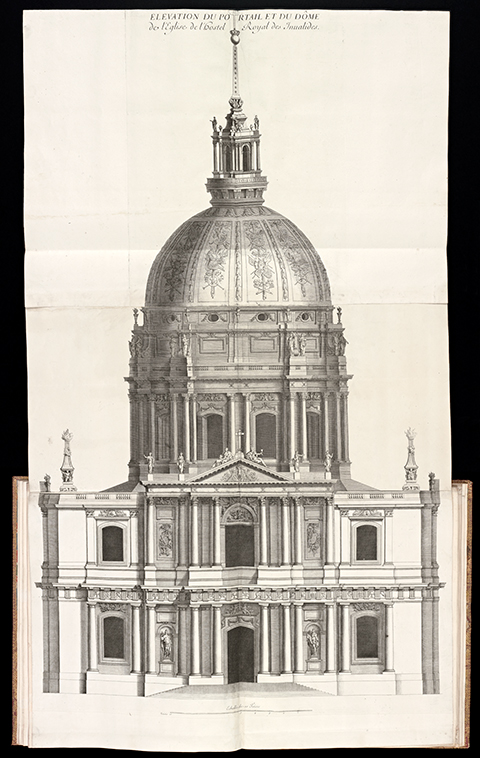 A 17th century folding plate of the Church of the Invalides from a bound volume of prints
