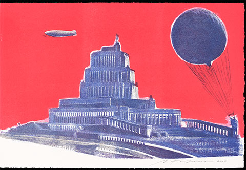 A color lithograph depicts Boris Iofan's design for the Palace of the Soviets. The tiered, neoclassical construction is topped with a statue of Lenin and flanked by a giant balloon on the right and a blimp on the left.