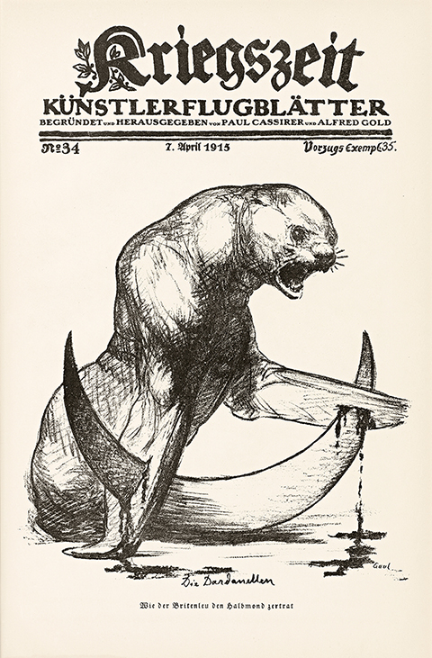 Cover of paper with title Kriegszeit and image of snarling animal