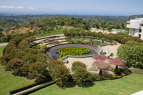 aerial view of the central garden at the heart of the getty center