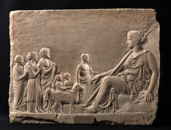 Relief with Aphrodite and Worshippers / Greek