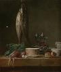 Still Life with Fish, Vegetables, Gougères, Pots, and Cruets on a Table / Chardin