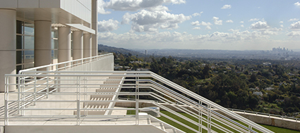 Wide shot of the Getty Foundation building and Los Angeles