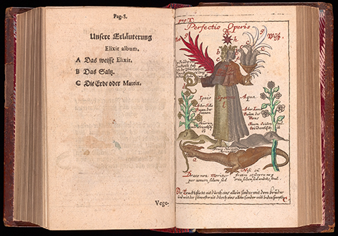 An open book with an illustration of a two-headed hermaphrodite standing above a dragon holding a snake in one hand and a chalice of birds in the other