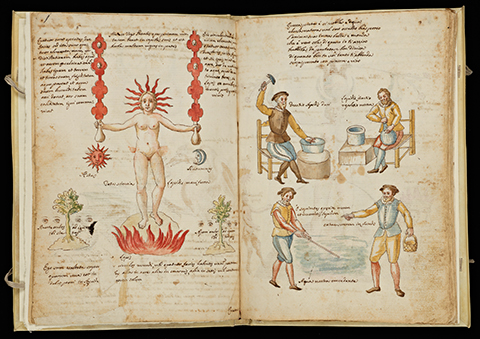 An open book depicting artisanal Mercury workers on the right and an allegorical depiction of the distillation process symbolized by a naked woman on the left