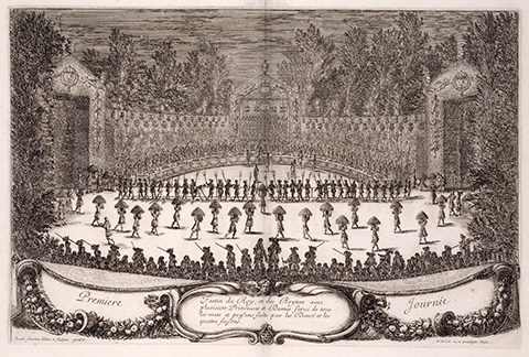 View of open book, showing a large ceremonial banquet performed on a stage