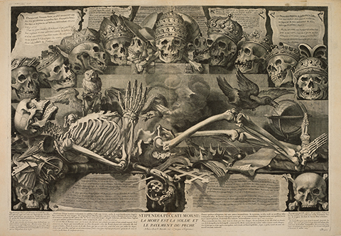 A 17th century print of skulls and a skeleton