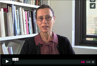 Video still from an Yvonne Rainer interview