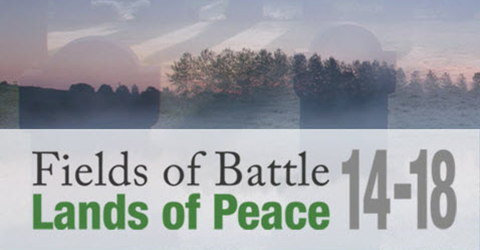 Photo of trees in the distance with text 'Fields of Battle Lands of Peace 14-18'