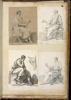 Seated male figures after Roman sculptures / David