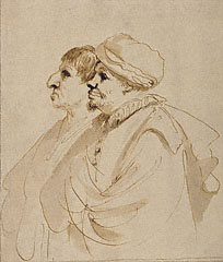 Caricature of Two Men Seen in Profile / Guercino