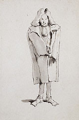 Caricature of a Man Wearing an Overcoat