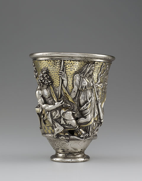 Beaker with Imagery Related to Isthmia and Corinth, Roman, A.D. 1-100; silver and gold