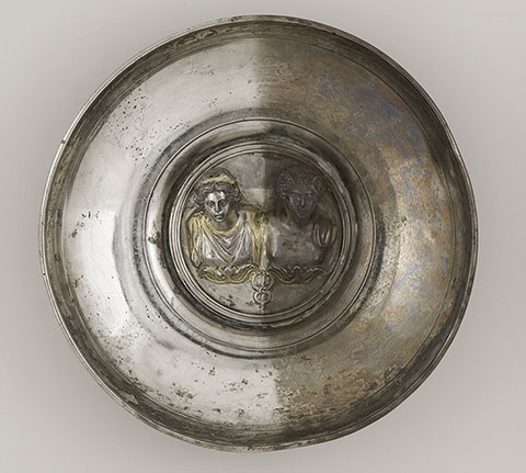 Offering Bowl with a Medallion of Mercury and Maia or Rosmerta, Roman, A.D. 150-225; silver and gold