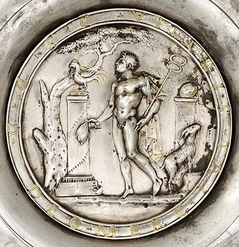 Offering Bowl with a Medallion of Mercury in a Rural Shrine (detail), Roman, A.D. 175-225; silver and gold